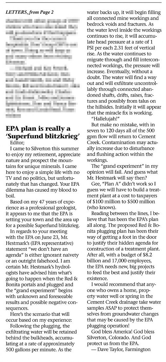 EPA Letter ofthe Editor