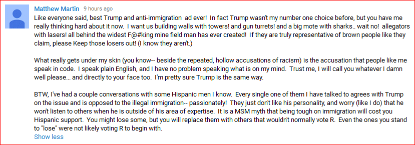 DeportRacism YouTube comment09